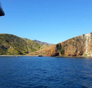 Approaching view of Scorpion Cove, Santa Cruz Island.