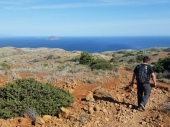 Hiking the ridge near Scorpion Cove, Santa Cruz Island