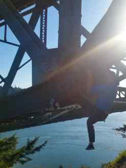 Climbing the underside of Deception Pass