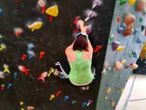 Sarah at the climbing gym
