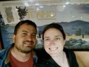 The Welcome to Idaho sign at the welcome center around 11PM