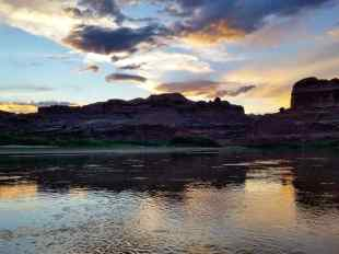 A view of the Colorado River in Moab at dusk