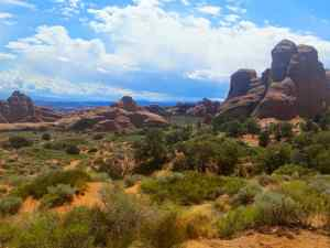 A view along the main road of Arches National Park
