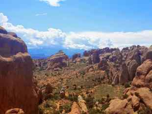 Looking back at the Devil's Garden in Arches National Park