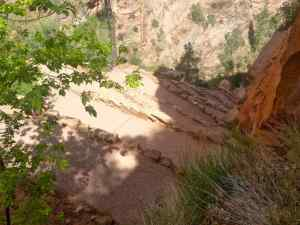 A view of the wiggles (a set of switchbacks) along the Angel's Landing Trail