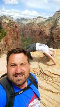 KC wanted a bridge pose selfie atop Angels Landing