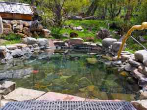 Views of one of the hot springs tubs at the Valley View Hot Springs