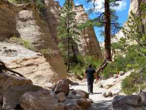 KC hiking in the Kasha-Katuwe Tent Rocks National Monument