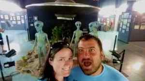 Aliens behind us in the UFO Museum