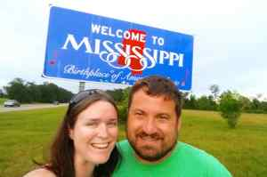 We made it to Mississippi! I'm more awake for this picture!