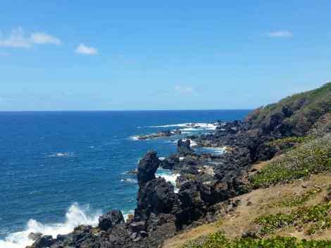 The lava rocks along a beach on St Kitts