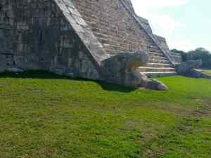 The head of Kukulkan, the feathered serpent, at the base of the Pyramid