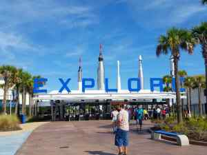 The entrance to the space center