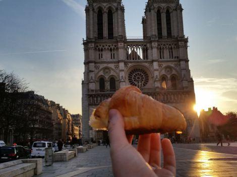 Ah, Paris! A croissant and Notre Dame