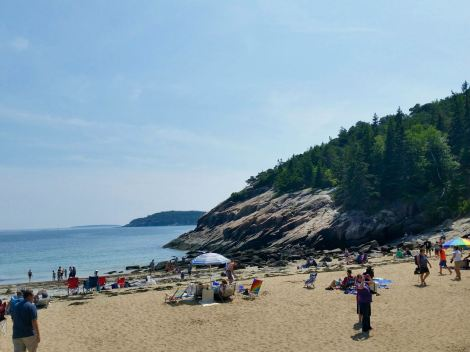 A view of Sand Beach with the rocky cliffs