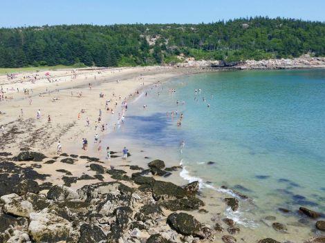 Sand beach swimmers